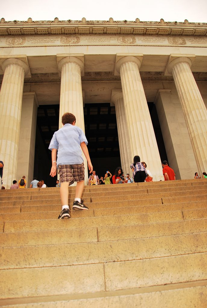 Seamus walking steps to Lincoln Memorial, Washington DC