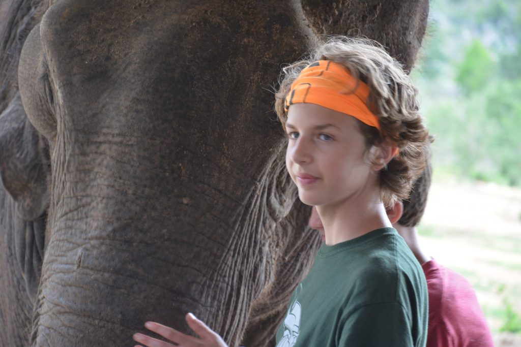 Nathan and Seamus with elephant, Kanchanaburi, Thailand