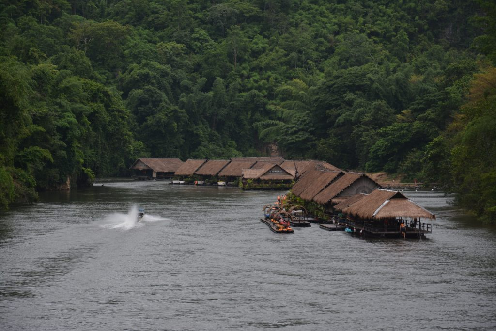 Floating hotel on the River Kwai in Thailand
