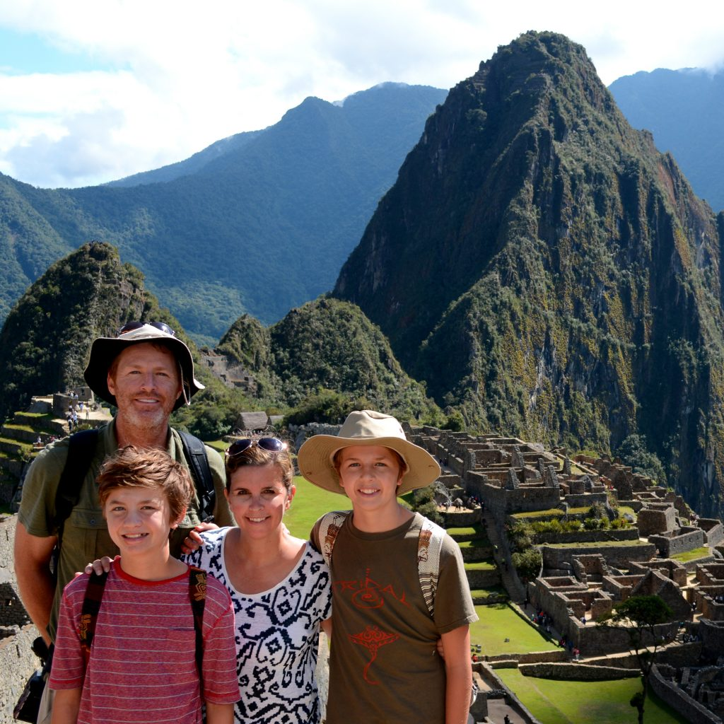 Simmons family at Machu Picchu, Peru