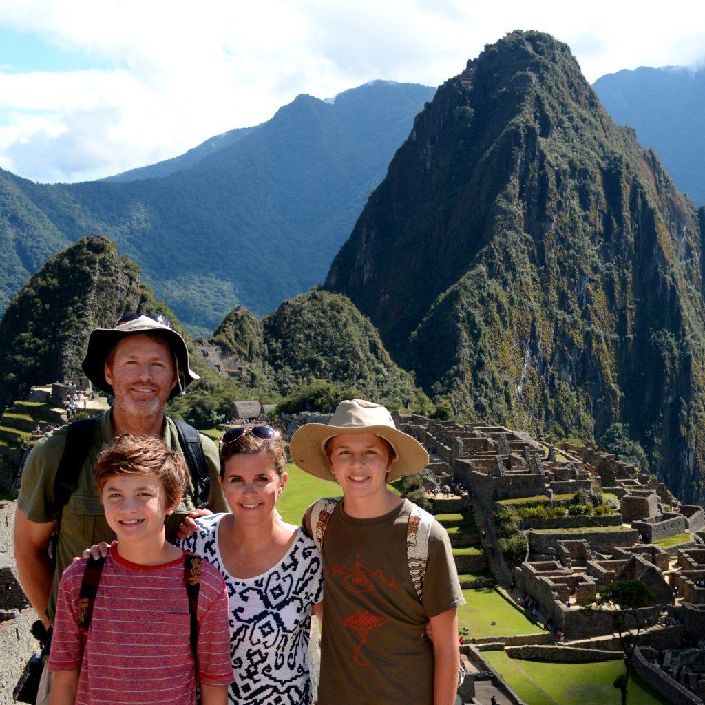 Simmons family at Machu Picchu, Peru