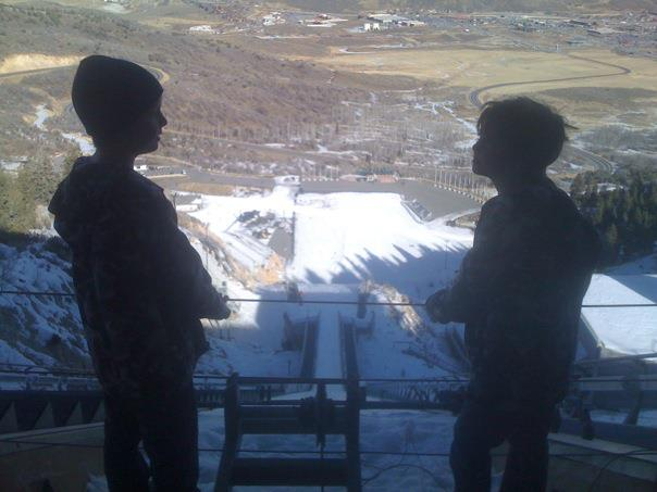 At the top of the ski jump, Olympic Park, Park City, Utah