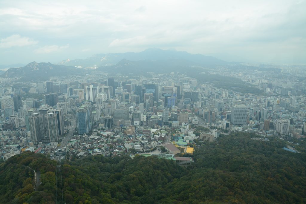 View of Gangham area of Seoul from N Seoul Tower